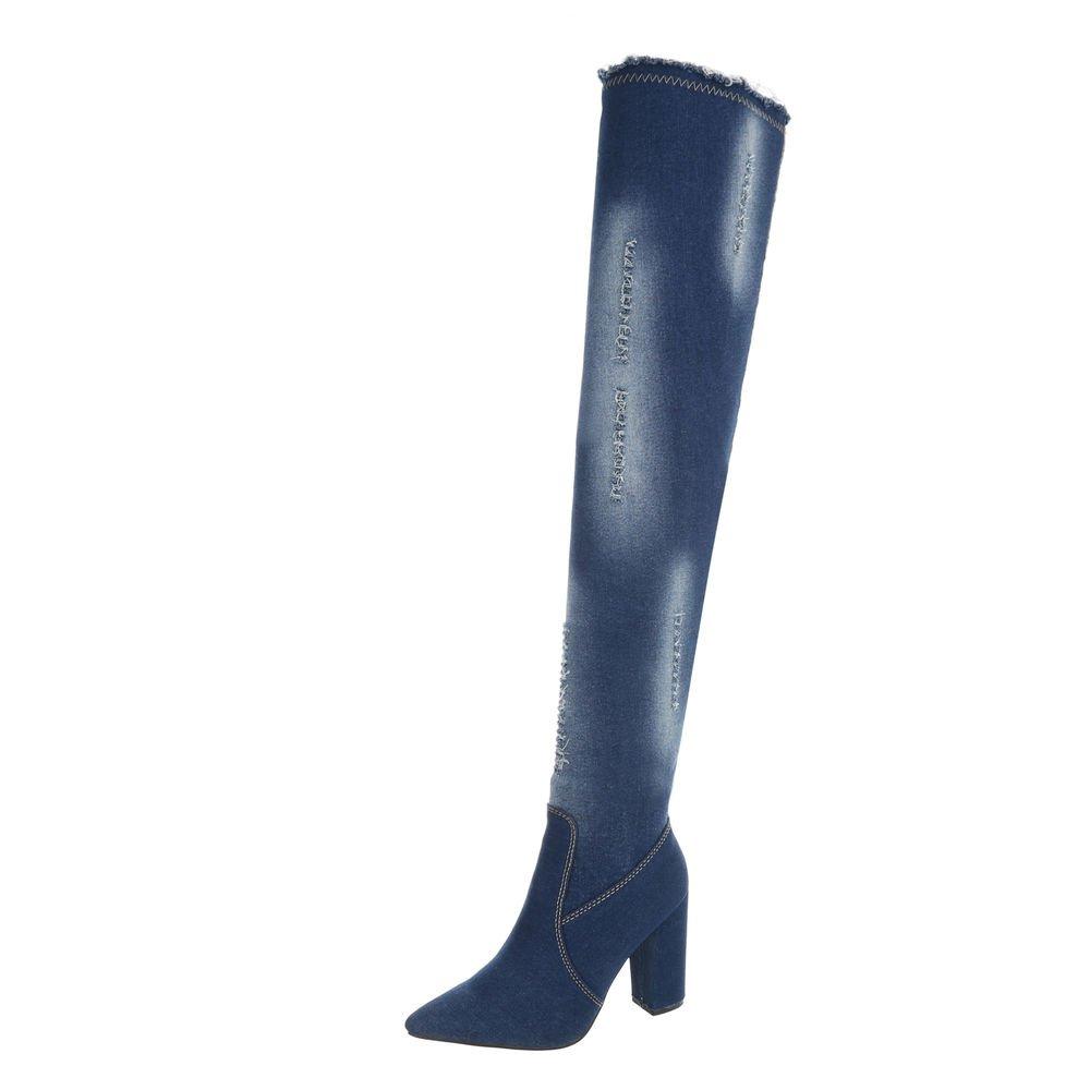 Ital-Design Chaussures Femme Bottes et Bottines Kitten-Heel Ital-Design Bottes Bottes Cuissardes Bottes Bleu Foncé Od-223 52fac53 - conorscully.space