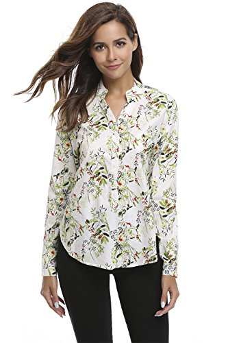 Misses Button (MISS MOLY Women Casual V Neck Long Sleeve Floral Print High Low Hem Cotton Blouse, Green, Medium / US-10)
