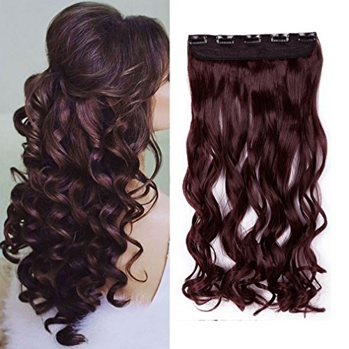 Cool 5 Minute Costumes (17'' Women Wine Red Long Curly 3/4 Full Head One Piece Hair Extensions 5 Clips 17 Inches)