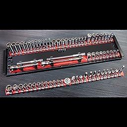 Ernst Manufacturing 8451 Socket Boss 3-Rail Universal Twist Lock Socket Tray, Multi-Drive, 19-Inch, Blue
