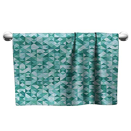 (xixiBO Pool Towel W14 x L14 Teal,Triangle Mosaic with Polygon Shapes Decorative Lights Shadows Effect Illustration,Teal Green Hand Towel)