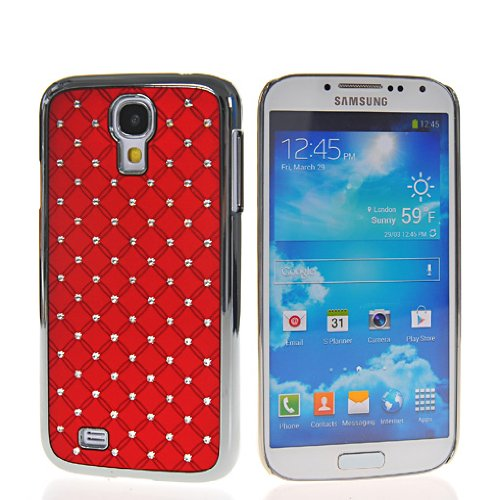 Rhinestone Chopper (iLookcase RED Deluxe Rhinestone Bling Chrome Plated Case Cover for Samsung Galaxy S4)
