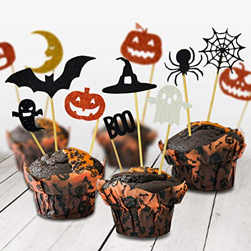 BOENFU Halloween Cupcake Toppers 24 Pieces for Halloween Party Decorations Supplies