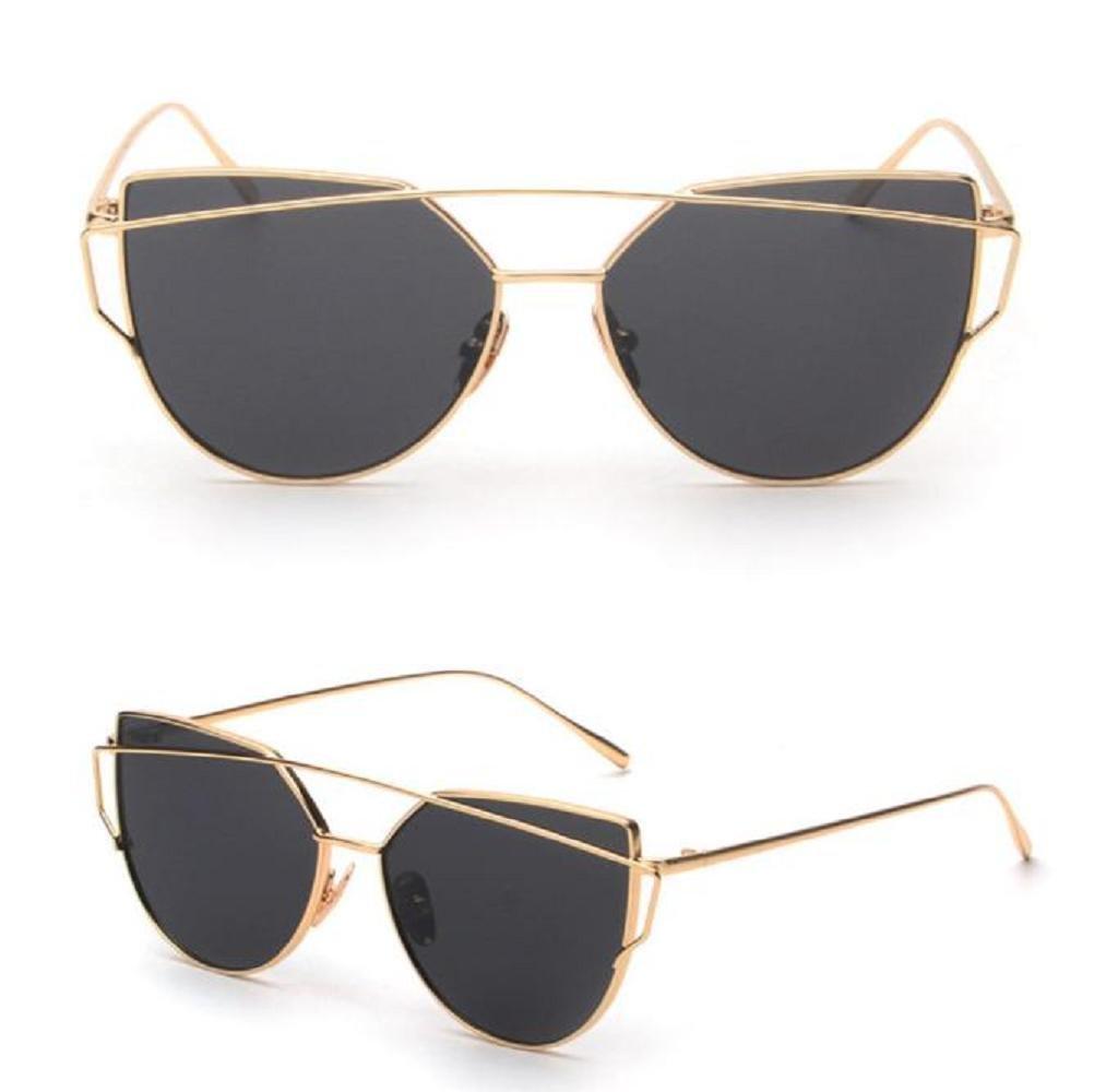 Lunettes de soleil Elyseesen Mode Twin-poutres Classic femme cadre métallique miroir lunettes de soleil lunettes de chat (noir) 8IqtIaDqs