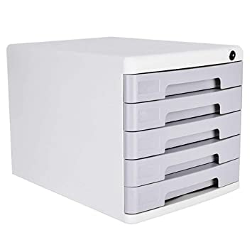 Bxwjg 4-Layers Lockable Data Cabinet Color : White Size : 4-Layers Desktop File Cabinet Multi-Layer Drawer File Storage Cabinet File Box Office Supplies Portable and Tidy Storage Box