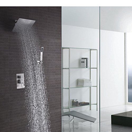 Shower Faucet Kit Complete with Valve Brushed Nickel with 10 Inch Square Shower Ceiling Head &Handheld Shower Combo Big Flow Wall Mounted Concealed Shower Trim Khrodis Brand (Valve Body Included) -