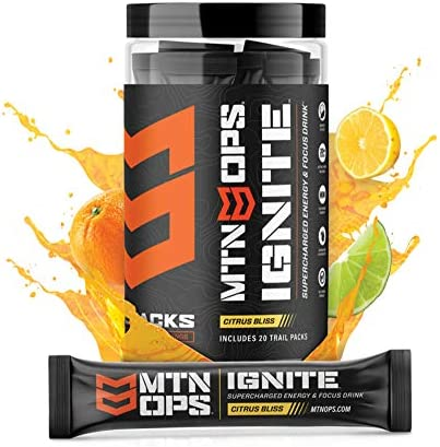 MTN OPS Ignite Trail Pack Supercharged Energy Drink Mix 20 Servings, Citrus Bliss