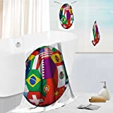 AuraiseHome Luxury Bath Towel Collection Set Soccer ball with world flags isolated on white Machine Washable, Super Soft 19.7''x19.7''-13.8''x27.6''-31.5''x63''