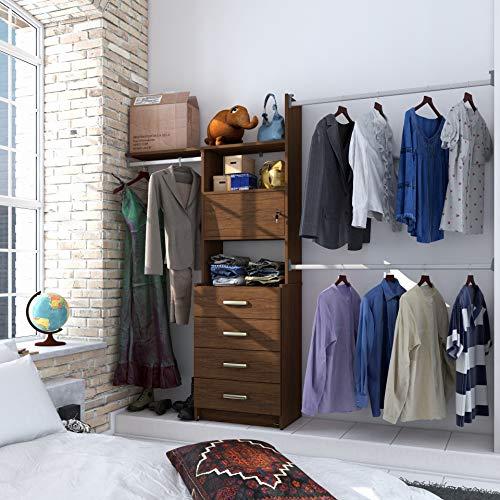 PLAYCON Closet armable Organizador Modelo Ideal con cajonera 4 cajones Ancho máximo de 244 cm Color Nogal Texturizad