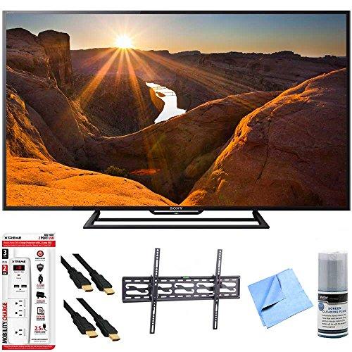 Sony KDL-48R510C - 48-Inch Full HD 1080p 60Hz Smart LED TV Tilt Mount Hook-Up Bundle - Includes TV, Tilting TV Wall Mount, 3 Outlet Surge Protector w/USB Ports, 2x HDMI Cable w/Ethernet 6ft, More