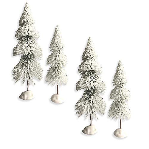 BANBERRY DESIGNS Snow Flocked Artificial Tree - Set of 4 Bottle Brush Trees for Christmas Holiday Village Set-Ups -