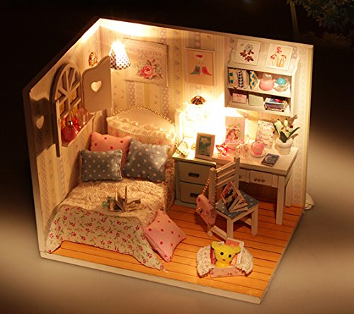 Wooden Handmade Dollhouse Miniature DIY Kit Cute Room With Furnitiure and Cover Artwork Gift(1:32 Scale Dollhouse)