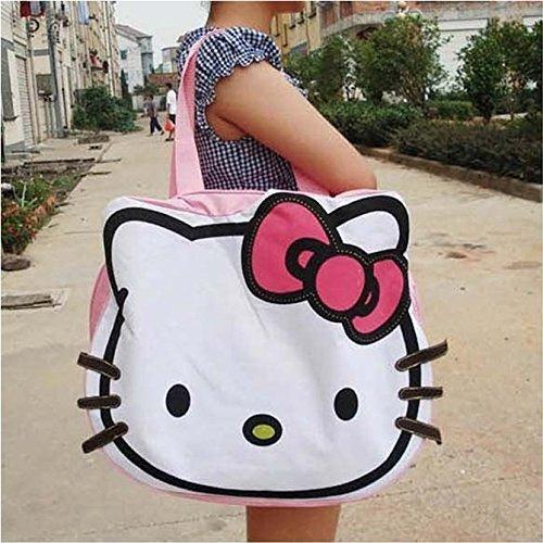 Canvas Handbags Shoulder Bag Hello Kitty Big Shopping Tot...