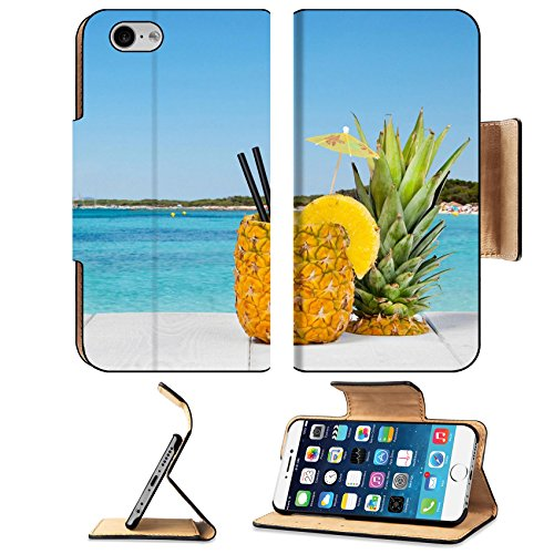 Luxlady Premium Apple Iphone 6 Iphone 6S Flip Pu Leather Wallet Case Image Id  41066810 Pineapple Juice Served In The Peel On White Wood Table