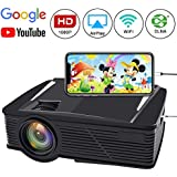 WiFi Video Projector, Neefeaer Wireless Portable Projector LCD Mini Home Projector WiFi Directly Connect with Smartphone 50% Brighter Full HD 1080P Outdoor Movie Projector, Support HDMI USB AV VGA