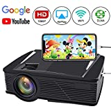 WiFi Video Projector, Neefeaer LCD Portable Projector Mini Home Projector WiFi Directly Connect with Smartphones Device Full HD 1080P Movie Projector Support HDMI USB AV VGA Wireless Display
