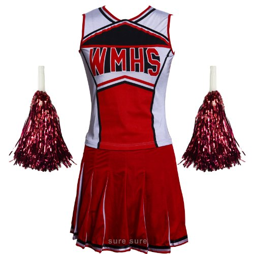 [High School Musical Cheerio Women's Adult Glee Club Two Piece Cheerleader Costume Outfit w/ Pom Poms US 10 12] (Top Ten Halloween Costumes For Women)