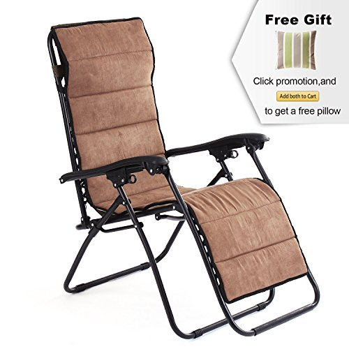 APEX LIVING All Seassonal Zero Gravity Chair Lounge Recliner Adjustable with Removable Suede Cushion for Office Indoor Outdoor  Leisure Rest by APEX LIVING