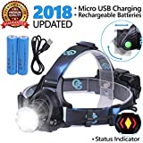 Rechargeable Headlamp, Hard Hat Light - LED Headlight Head Lamps for Adults, Works As Helmet Light And Camping Hiking Gear Headlight Flashlight