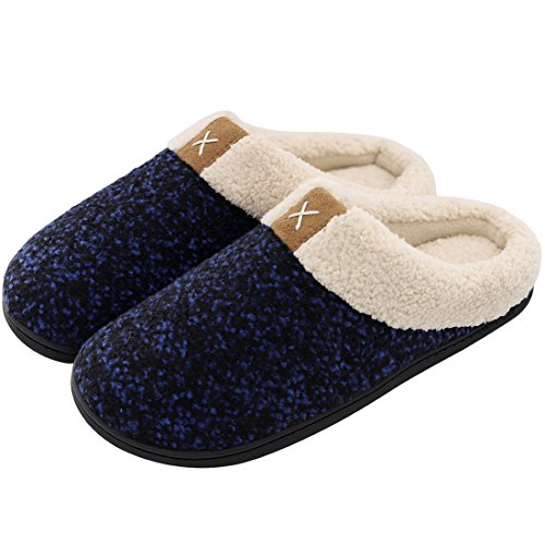 ULTRAIDEAS Men's Cozy Memory Foam Slippers with Fuzzy Plush Wool-Like Lining, Slip on Clog House Shoes with Indoor Outdoor Anti-Skid Rubber Sole(Royal Blue,11-12)