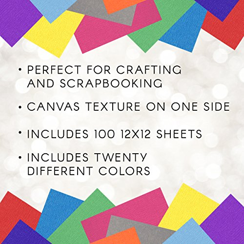"""Darice GX220035 Core'dinations Premium 65-lb Cardstock Value Pack – 12x12"""" Sheets of Premium, Acid Free Cardstock with a Solid-Dyed Core, 100-Pack Includes Five Sheets of 20 Colors"""