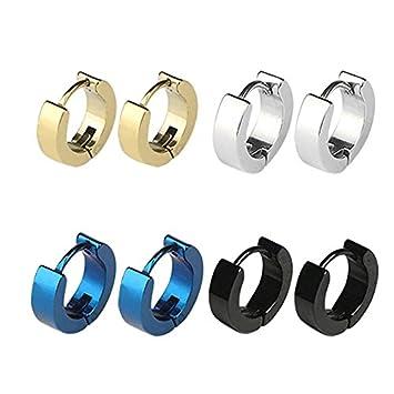 79c8896f8 Amazon.com: CrazyPiercing Stainless Steel Mens Womens Hoop Earrings  Piercings Huggie Hypoallergenic (4 Pair): Arts, Crafts & Sewing