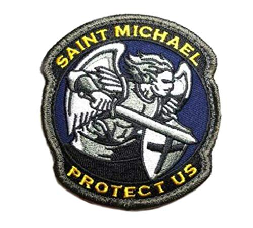 Saint Michael Protect Us Embroidered Patch Tactical Military Morale Series Hook and Loop Emblem Badge DIY Appliques Application Patches Cloth Fabric Badges Cap Bag Jackets