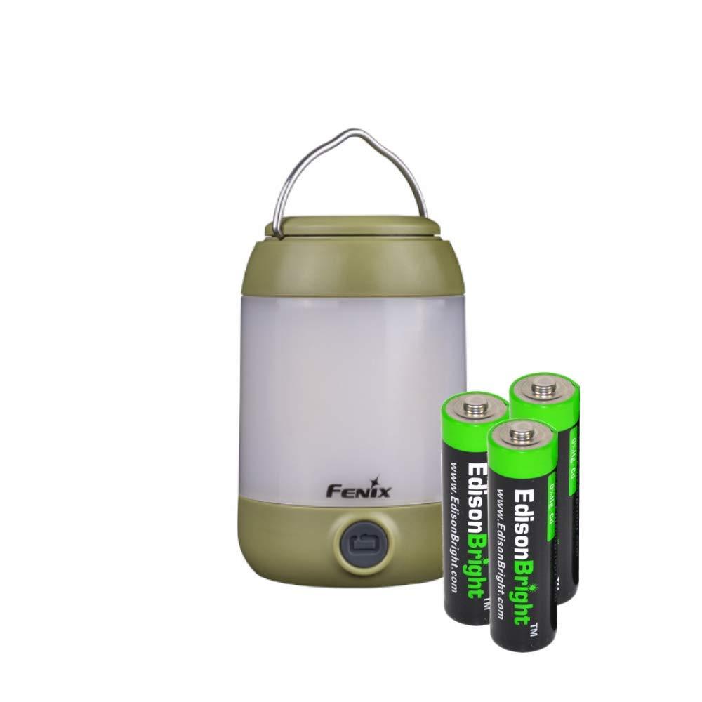 Fenix CL23 300 Lumen dedicated camping light with 3 X EdisonBright AA batteries bundle (Green)