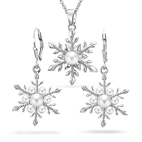 Christmas White Simulated Pearl Holiday Snowflake Pendant Necklace Earring Jewelry Set for Women Leverback Silver Plated