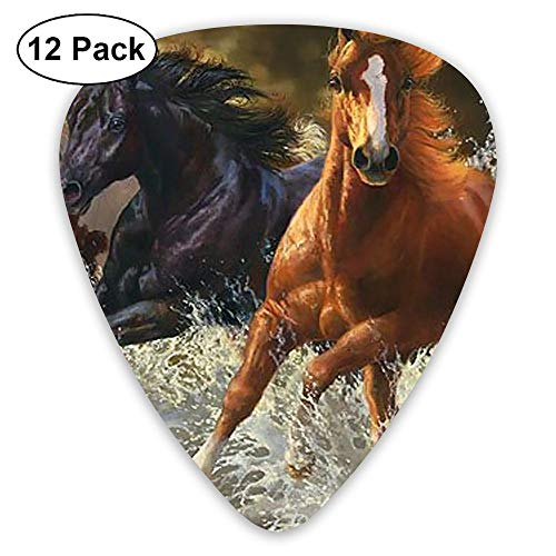 (12-Pack Fashion Classic Electric Guitar Picks Plectrums Oil Painting Horse Instrument Standard Bass)