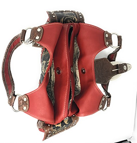 Concealed Purse Matching Buckle Style Western in Set Red Rhinestone Black Handbag Carry Fw1qAa