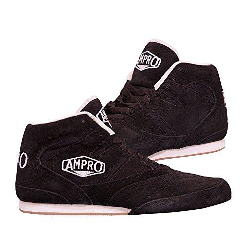 Ampro London–Low-top botas de boxeo entrenamiento/Sparring/competencia/libre bolsa con cuerda negro / negro