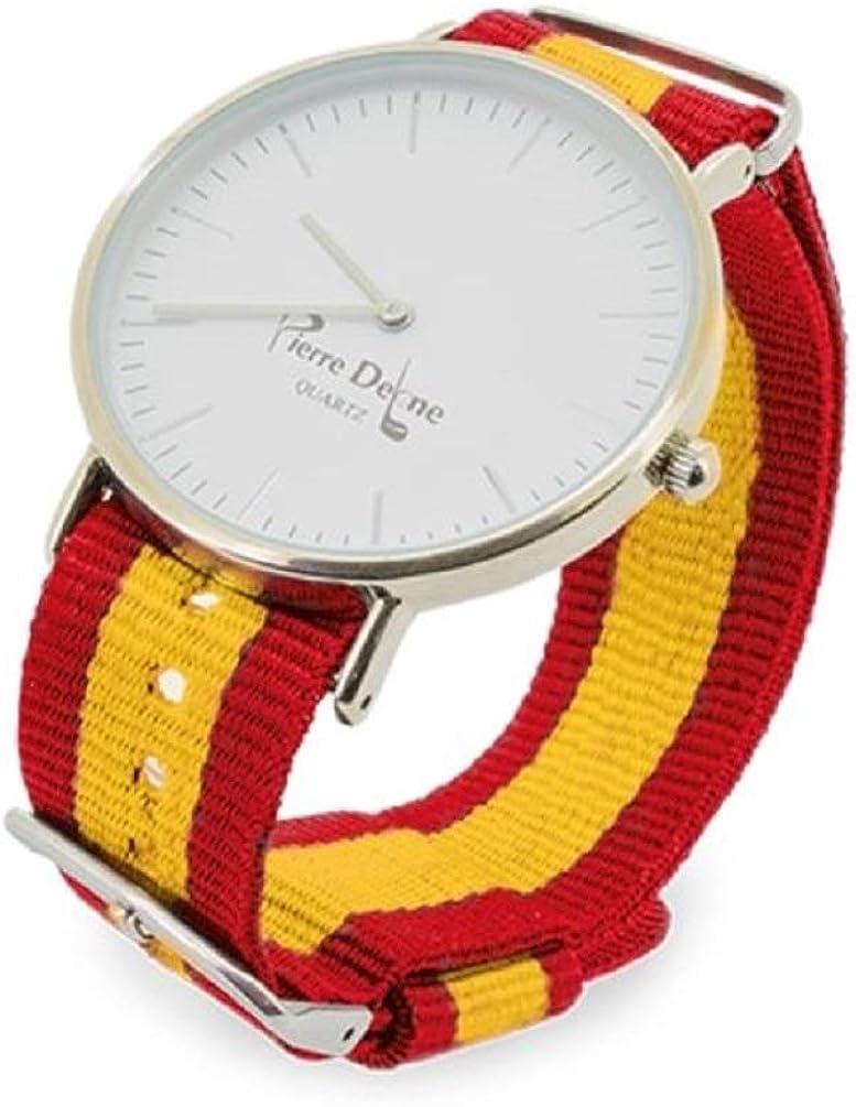 Set. Reloj España con Pulseras Intercambiables con la Bandera, presentado en Estuche y Bolsa Exterior de Tela Granate
