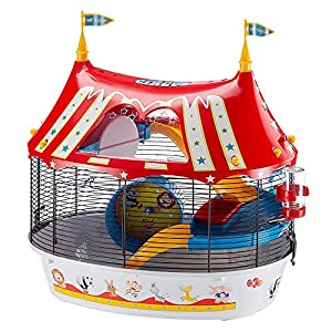 Ferplast Jaula de Tres Pisos para hámsteres Circus Fun, Ratones y pequeños roedores, Plástico Robusto y Metal, Coloridos…
