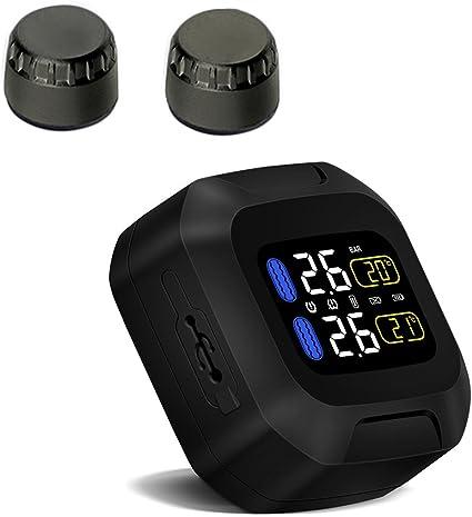 Pantalla LCD Sistema de Monitor con 2 Sensores Externos TPMS Moto Inal/ámbrico KKmoon Sistema de Control de Presi/ón de Neum/áticos Impermeable