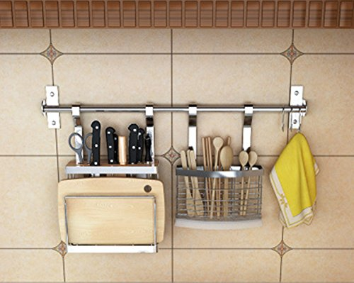Steel Kitchen Cookware Organizer Set,Knife Block Chopping Board Holder/Flatware Utensils Caddy,10 S Hooks 1 Bar,Wall Mounted Pot Rack (Wall Utensil Holder Mounted)