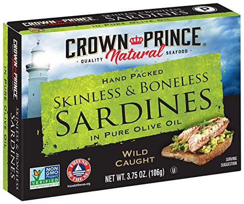 Crown Prince Natural Skinless & Boneless Sardines in Pure Olive Oil, 3.75-Ounce Cans (Pack of - Pepper Roasted Asparagus Red
