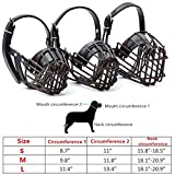 Dog Muzzle Leather Metal Wire,Focuspet Dog Leather Mouth Muzzle Basket Cage Adjustable Anti Biting Barking Chewing Training Dog S M L Bark black-Bark L