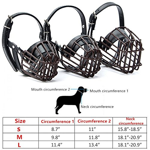 Dog Muzzle Leather Metal Wire,FOCUSPET Dog Leather Mouth Muzzle Basket Cage Breathable Adjustable Anti Biting Barking Chewing Drinking Eating Training For Large Medium Small Dogs S (Basket Wire Muzzles)