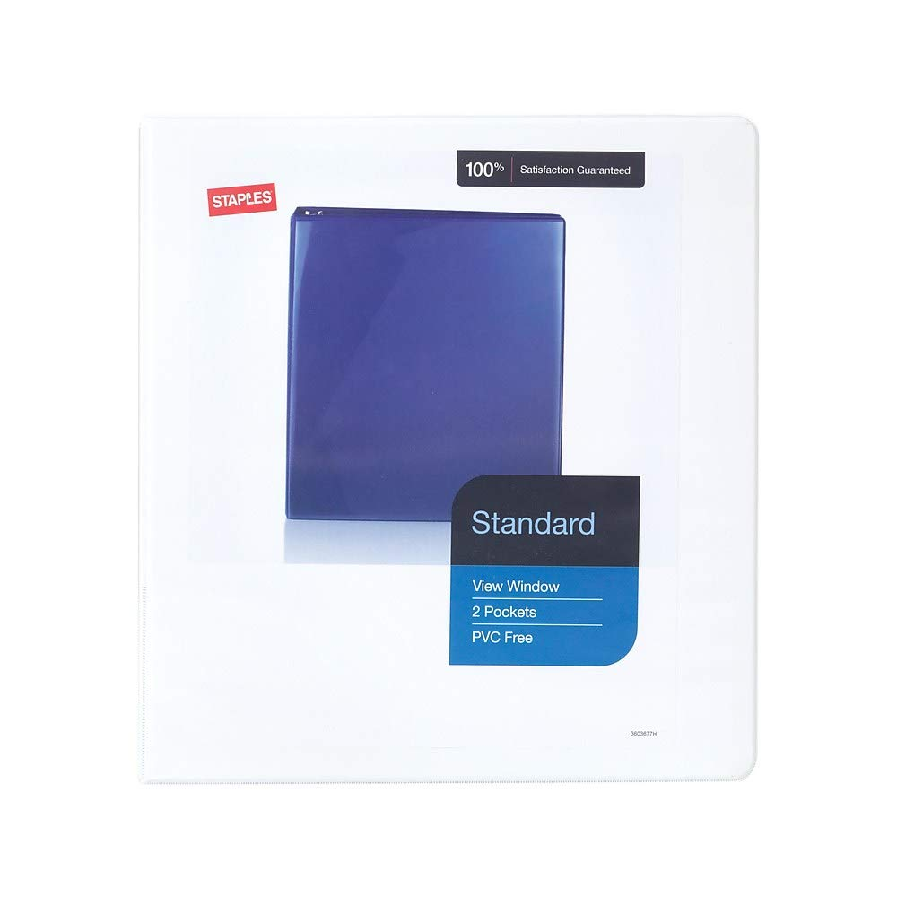 Staples 2661501 Standard 1.5-Inch 3-Ring View Binders White 12/Carton (26438CT) by STAPLES