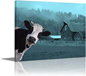 Kingsleyton Farmhouse Country Teal Black White Rustic Cow Farm Animal Picture Modern Home Decor Wall Art Painting Wood Inside Framed Hanging Wall Decoration Abstract Painting Ready to Hang 16x20 Inch