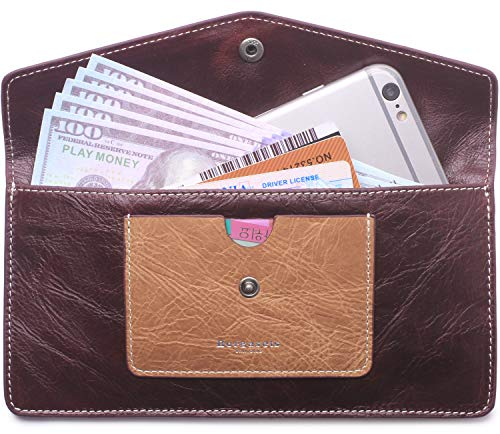 Borgasets Women's Wallet Leather RFID Blocking Ultra-thin Envelope Ladies Purse Travel Clutch with ID Card Holder and Phone Pocket (Reddish ()