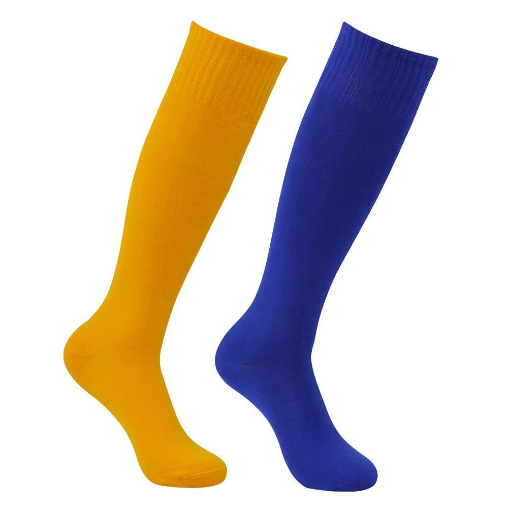 Feelingway Softball Socks, Mens Womens Over Knee Athletic Long Tube Socks for Soccer Football Baseball Training Blue and Orange 2 Pairs by Atrest