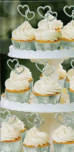 Amscan Electroplated Plastic Silver Heart Shaped Cupcake Picks (24 Count) by Amscan (Image #1)