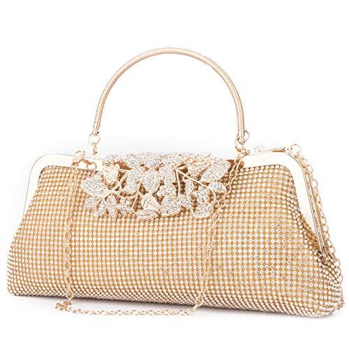Van Dysi Crystal Rhinestone Evening Clutch Purse for Women Luxury Sparkling Handbag for Dancing and Wedding Party Gold
