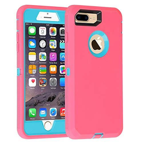 Case for iPhone 7 Plus/8 Plus Heavy Duty Armor 3 in 1 Built-in Screen Protector Rugged Cover Dust-Proof Shockproof Drop-Proof Scratch-Resistant Shell Compatible with Apple iPhone 7+/8+ 5.5,Pink/Blue