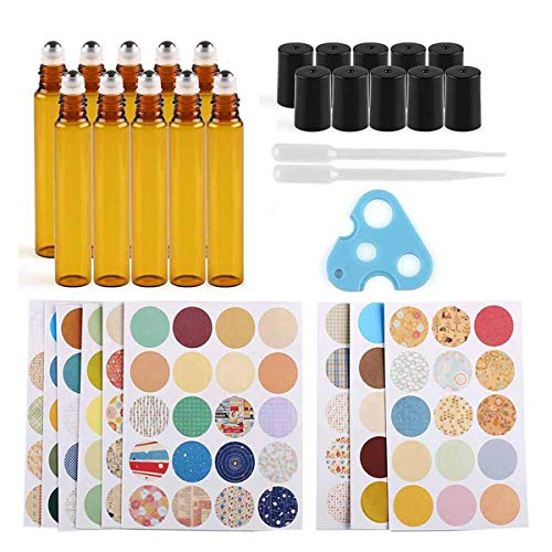 Iceyon 10pcs Glass Roller Bottles,Amber,10ml for Perfumes Essential Oil Roller Bottle with Stainless Steel Roller Balls,Dropper,Opener,160pcs Marking Labels Kits