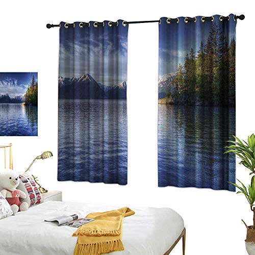 Fashion Curtain Alaska Turnagain Arm of The Cook Inlet Anchorage Idyllic Lakeside Photography W63 xL72 Lime Green Navy Blue Suitable for Bedroom Living Room Study,etc. ()