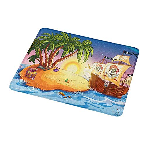 Mouse Pad Rubber Mousepad Pirate Ship,Ghost Ship on Exotic Sea Near Treasure Island with Palm Trees and Open Chest,Personality Desings Gaming Mouse Pad 9.8