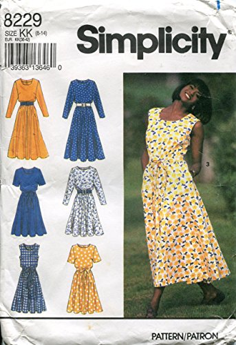 Simplicity Pattern 8229 Misess'/Miss Petite Dress in Two Lengths with Neckline Variations and Tie Belt, KK (8-14)